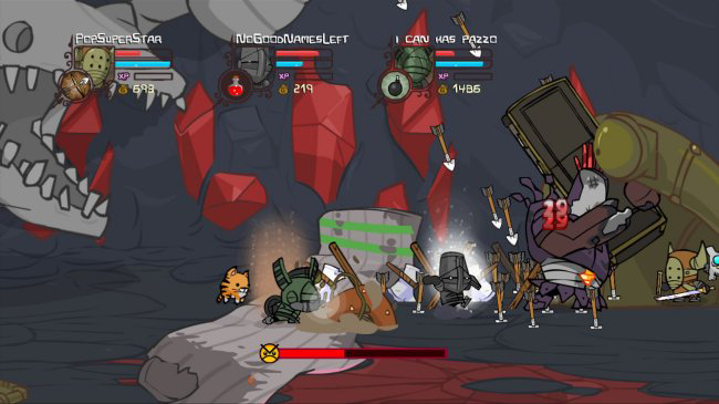 Multiplayer hack and slash action in Castle Crashers