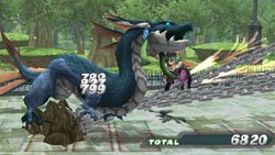 Combat with against a dragon in 'Cross Edge'