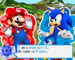 Mario and Sonic talking to a snow spirit in Adventure Tours Mode in Mario & Sonic at the Olympic Winter Games for DS and DSi