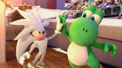 Silver the Hedgehog and Yoshi in Mario & Sonic at the Olympic Winter Games for Wii