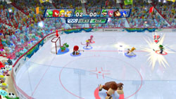 Four-on-four ice hockey in Mario & Sonic at the Olympic Winter Games for Wii
