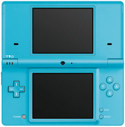View of the Nintendo DSi Blue open with stylus