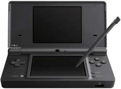 View of the Nintendo DSi Black open with stylus