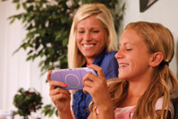 Mother and girl with the limited edition Lilac PSP-3000
