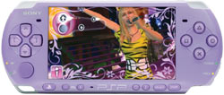 The limited edition Lilac PSP-3000 with the PSP exclusive Hannah Montana: Rock Out The Show video game playing on it