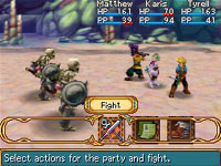 Turn-based RPG party combat action from Golden Sun: Dark Dawn