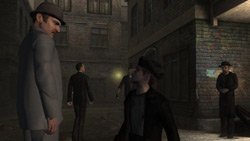 Watson gathering information from an NPC in 'Sherlock Holmes vs. Jack The Ripper'