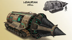 Character-specific vehicle the Lemurian Drill in 'Champions Online'