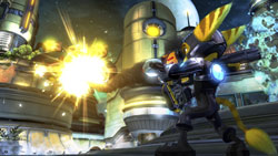 Ratchet firing an explosive weapon in Ratchet & Clank Future: A Crack in Time