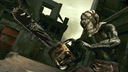 Hooded zombie with a chainsaw in 'Resident Evil 5' for PC