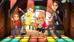 The whole iCarly gamg on the dance floor in 'iCarly' for Wii
