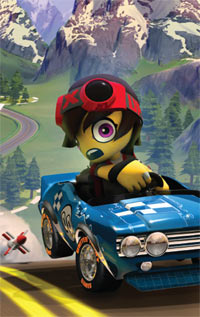 Racer trying to outrun a rocket in ModNation Racers