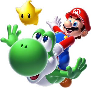 Yoshi, Luma and Mario in Super Mario Galaxy 2