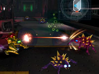 Samus battling enemies in expansive environment in Metroid: Other M