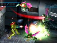 Samus taking on hordes of enemies in side-scrolling platforming action in Metroid: Other M