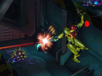 Samus firing on enemies from a raised angle in Metroid: Other M