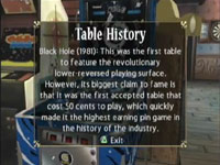 The in-game posted table history of the ''Black Hole'' pinball game from Pinball Hall of Fame: The Gottlieb Collection