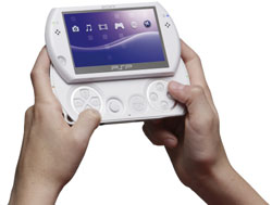 White PSP Go, with controls visible