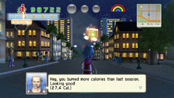 AI companion giving a caloric breakdown as you walk through the gameworld in Walk It Out!