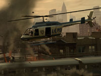 Helicopter surveying damage over Liberty City in Grand Theft Auto: Episodes from Liberty City