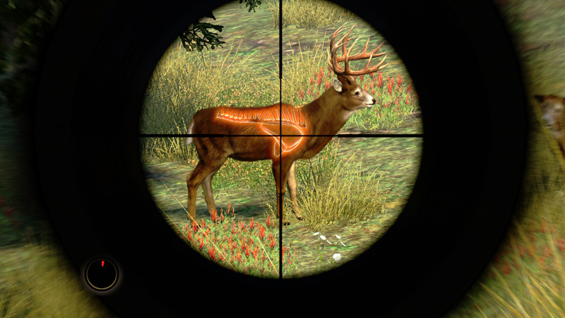 In-game targeting system featuring a white-tailed deer in 'Cabela's