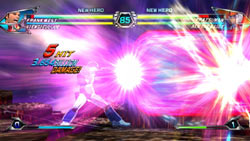 A 5-hit combo unleashing crazy damage in Tatsunoko Vs. Capcom Ultimate All-Stars
