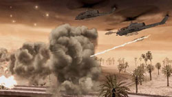 Helicopters attacking in tandem in a desert environment in Call of Duty: Modern Warfare: Reflex