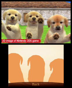 3 puppies vying for your attention by jumping on the 3DS screen in Nintendogs   Cats: Golden Retriever and New Friends