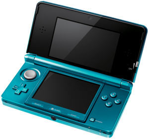 Nintendo 3DS Aqua Blue open revealing 3D Depth Slider and the Circle Pad Analog control
