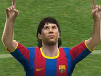 Close-up of Barcelona striker superstar Lionel Messi in Pro Evolution Soccer 2011 3D