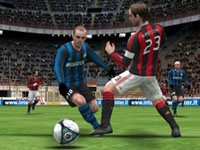 One-on-one action in the open field in Pro Evolution Soccer 2011 3D