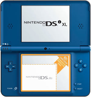 DSi XL Midnight Blue in the open position demonstrating the increased screen size