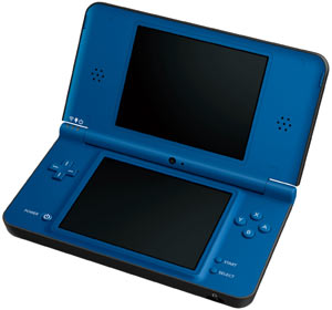 Nintendo DSi XL Midnight Blue in the open position