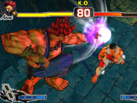 Ryu falling prey to combos from above in Super Street Fighter IV: 3D Edition
