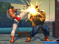 Ryu landing a kick in Super Street Fighter IV: 3D Edition