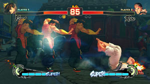 Yung putting the moves on Ryu in Super Street Fighter IV: Arcade Edition