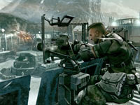 Taking aim at enemies from behind a gun turret in Killzone 3