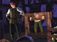 A Sims executioner holding an other Sim in stocks in The Sims Medieval