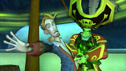 Guybrush trying to escape the grip of LeChuck in 'Tales of Monkey Island: Launch of the Screaming Narwhal'