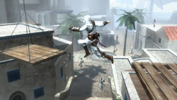 The assassin Altair taking to the air above Jerulaslem in Assassin's Creed: Bloodlines