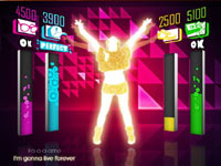 In-game screen showing 4-person multiplayer in Just Dance