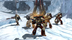 Space Marines in formation on the planet Aurelia in Warhammer 40,000: Dawn of War II: Chaos Rising