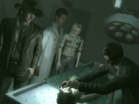NPCs witnessing Morgan examing a dead body in Deadly Premonition