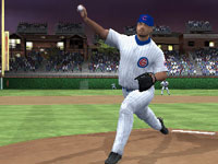 Cubs pitcher throwing towards home plate in MLB 10: The Show