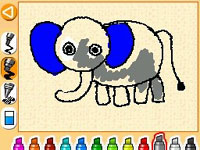 Coloring an elephant in Let's Draw!