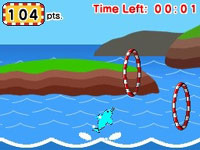 A dolphin action mini-game in Let's Draw!