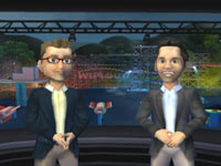 In-game caricatures of commentators John Anderson and John Henson from Wipeout: the Game