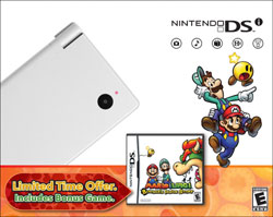White DSi Mario & Luigi: Bowser's Inside Story bundle
