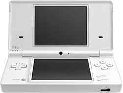 White DSi showing digital camera and larger screen included in the DSi Mario & Luigi: Bowser's Inside Story bundle