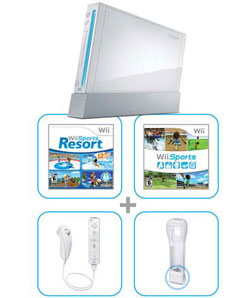 Wii bundle with Wii Sports Resort contents (white)